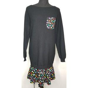 Boutique Moschino black sweater dress multicolored